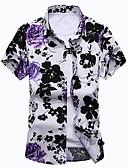 baratos Camisas Masculinas-Homens Tamanhos Grandes Camisa Social Floral Algodão Colarinho Clássico / Manga Curta