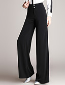cheap Women's Pants-Women's Classic & Timeless Wide Leg Pants - Solid Color Button Black