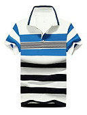 cheap Men's Hoodies & Sweatshirts-Men's Cotton Polo - Striped Printing / Buckle Shirt Collar