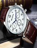 levne Vojenské hodinky-Pánské Módní hodinky Náramkové hodinky Křemenný Kůže Hnědá Analogové Na běžné nošení - Bílá Černá