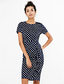 preiswerte Kleider in Übergröße-Damen Übergrössen Street Schick Baumwolle A-Linie Bodycon Kleid - Rüsche, Punkt Knielang Hohe Hüfthöhe