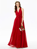 cheap Evening Dresses-A-Line V Neck Floor Length Chiffon Bridesmaid Dress with Bow(s) / Sashes / Ribbons / Criss Cross by LAN TING BRIDE® / Beautiful Back