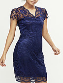 cheap Men's Exotic Underwear-Women's Plus Size Going out Street chic Bodycon / Loose / Lace Dress - Solid Colored Lace V Neck / Spring / Summer