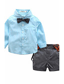 お買い得  男児 トップス-男の子 純色 コットン シャツ 春 夏 長袖 ピンク グレー ライトブルー