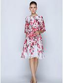 baratos Vestidos de Mulher-Mulheres Sofisticado Tamanhos Grandes Calças - Floral Branco / Trabalho