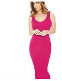 abordables Vestidos de Mujer-Mujer Corte Bodycon Vestido Un Color Tiro Alto Maxi Hombros Caídos