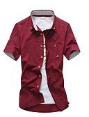 baratos Camisas Masculinas-Homens Camisa Social Sólido Algodão
