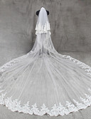 cheap Wedding Veils-Two-tier Lace Applique Edge Wedding Veil Cathedral Veils 53 Appliques Tulle