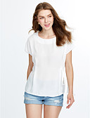 זול טישרט-אחיד חולצה - בגדי ריקוד נשים פפיון כותנה חוטי זהורית