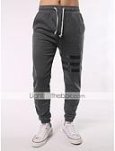 ieftine Pantaloni Bărbați si Pantaloni Scurți-Bărbați Activ / Șic Stradă Mărime Plus Size Bumbac Skinny / Jogger / Relaxat Pantaloni - Bloc Culoare Dungi Gri Închis / Sport / Sfârșit de săptămână