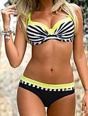 tanie Bikini i odzież kąpielowa 2017-Damskie Pasek Pomarańczowy Rumiany róż Żółty Dół typu Cheeky Bikini Stroje kąpielowe - Prążki / Kolorowy blok Nadruk L XL XXL / Seksowny