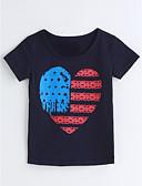 preiswerte Mode für Mädchen-Mädchen T-Shirt Geometrisch Baumwolle Sommer Kurzarm Marineblau