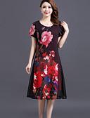 baratos Vestidos de Mulher-Mulheres Tamanhos Grandes Solto Vestido - Camadas Com Transparência, Floral