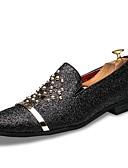 preiswerte Sportuhr-Herrn Schuhe PU Sommer / Herbst formale Schuhe Loafers & Slip-Ons Schwarz / Silber / Hochzeit / Party & Festivität / Kleid Müßiggänger