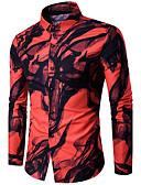 baratos Camisas Masculinas-Masculino Camisa Social SimplesEstampado Algodão Colarinho de Camisa Manga Longa