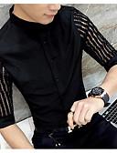 olcso Férfi dzsekik és kabátok-Alkalmi Vékony Férfi Ing - Egyszínű