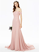 cheap Bridesmaid Dresses-Sheath / Column Off Shoulder Sweep / Brush Train Chiffon Floral Lace Bridesmaid Dress with Lace Sash / Ribbon by LAN TING BRIDE®