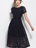 cheap Women's Dresses-Women's Going out Street chic Lace Dress - Solid Colored Lace High Rise