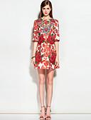 baratos Vestidos Femininos-Mulheres Fofo Moda de Rua Evasê Vestido Floral Acima do Joelho