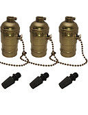 cheap Sport Watches-3 pcs E26/E27 Edison Socket Base Retro Pendant Lamp Holder Aluminum Zipper Style Industrial Light Socket With Pull Chain On/Off Switch