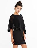preiswerte Kleider in Übergröße-Damen Hülle Chiffon Kleid - Pailletten, Solide Mini Bateau