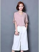 baratos Vestidos de Mulher-Mulheres Blusa Sólido Decote V