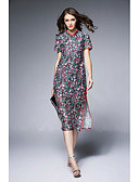 cheap Women's Dresses-Women's Going out Chinoiserie Silk Sheath Dress Split / Print Stand