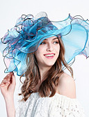 cheap Party Headpieces-Women's Flower / Holiday Tulle Bucket Hat / Floppy Hat / Sun Hat - Striped Stripe / Summer
