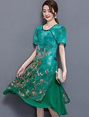 baratos Calças Femininas-Mulheres Tamanhos Grandes Temática Asiática Solto Vestido - Camadas Fenda, Floral