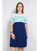 baratos Vestidos Femininos-Mulheres Tamanhos Grandes Fofo Reto Camiseta Túnicas Vestido Estampa Colorida Retalhos Altura dos Joelhos