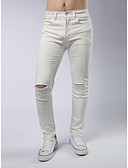 baratos Calças e Shorts Masculinos-Homens Moda de Rua Justas / Skinny Calças - Sólido rasgado