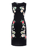 cheap Women's Dresses-Women's Floral Daily Bodycon Dress - Floral Print Summer Black