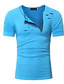 baratos Relógio Elegante-Homens Tamanhos Grandes Camiseta Buraco, Sólido Algodão Decote Redondo Delgado / Manga Curta
