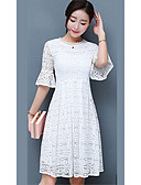 cheap Women's Dresses-Women's Cotton Sheath Dress - Solid Colored White