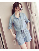 cheap Fashion Watches-Women's Plus Size Daily Shirt Collar Blue Royal Blue Romper, Solid Color XXL XXXL XXXXL Half Sleeve Summer