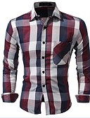 cheap Men's Shirts-Men's Party / Anniversary / Birthday Street chic Cotton / Polyester Slim Shirt - Plaid / Check / Name Brand Style / Fashion Classic /
