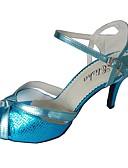 olcso Férfi zakók és öltönyök-Női Latin cipők Szintetikus Szandál Személyre szabott sarok Dance Shoes Piros / Kék / Bronz / Otthoni