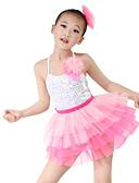 ieftine Ținute De Dans De Copii-Ținute de Dans Copii Ținute Performanță Organza Lycra Paiete Fără manșon Înalt