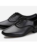 cheap Quartz Watches-Men's Latin Shoes Cowhide Heel Customizable Dance Shoes Black / Practice