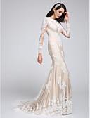 olcso Menyasszonyi ruhák-Sellő fazon Ékszer Udvari uszály Csipke tüllön Made-to-measure esküvői ruhák val vel Rátétek által LAN TING BRIDE®