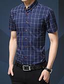abordables Camisetas y Tops de Hombre-Hombre Simple Trabajo Algodón Camisa, Cuello Americano A Cuadros / Manga Corta