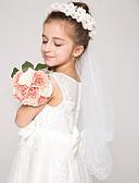 זול הינומות חתונה-שכבה אחת קצה עפרון הינומות חתונה הינומות לילדות עם אפליקציות טול / חיתוך זווית / מפל