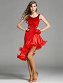 cheap Sport Watches-Latin Dance Women's Performance Velvet Flower Sleeveless Natural Dress