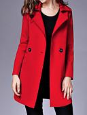 baratos Trench Coats e Casacos Femininos-Mulheres Casaco Sólido Colarinho de Camisa