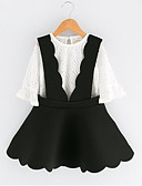 cheap Men's Shirts-Girls' Solid Clothing Set, Cotton Polyester Spring Fall Half Sleeves Black