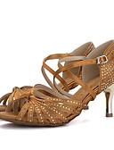 baratos Camisetas Femininas-Mulheres Sapatos de Dança Latina Seda Sandália / Salto Pedrarias / Presilha Salto Agulha Sapatos de Dança Marron / Vermelho / Verde