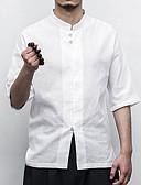 お買い得  メンズTシャツ&タンクトップ-男性用 ワーク シャツ アジアン・エスニック ソリッド コットン / リネン / スタンド
