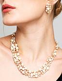 preiswerte Eiskunstlaufkleider-Damen Schmuck-Set - Perle, Strass Europäisch, Modisch, Elegant Einschließen Tropfen-Ohrringe Perlenkette Weiß / Kaffee Für Hochzeit Party Alltag / Halsketten