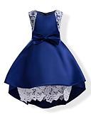 povoljno Haljine za djevojčice-Djeca Djevojčice Mašna Jednobojni Bez rukávů Haljina Plava / Pamuk