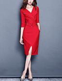 baratos Vestidos de Mulher-Mulheres Tamanhos Grandes Festa / Trabalho Delgado Tubinho Vestido - Fenda, Sólido Decote V Altura dos Joelhos Vermelho / Primavera